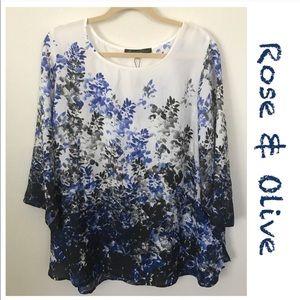 Rose & Olive Floral Print Blouse